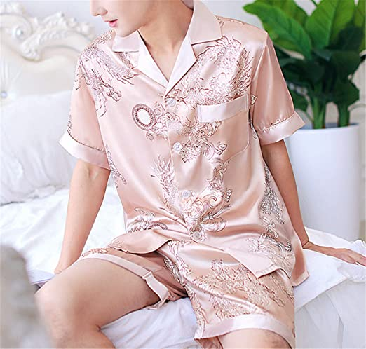 Satin Silk Men Pyjamas Set Summer Sleepwear Loungewear Pajamas Sets Home Suit for Man Nightwaer at Amazon Mens Clothing store: