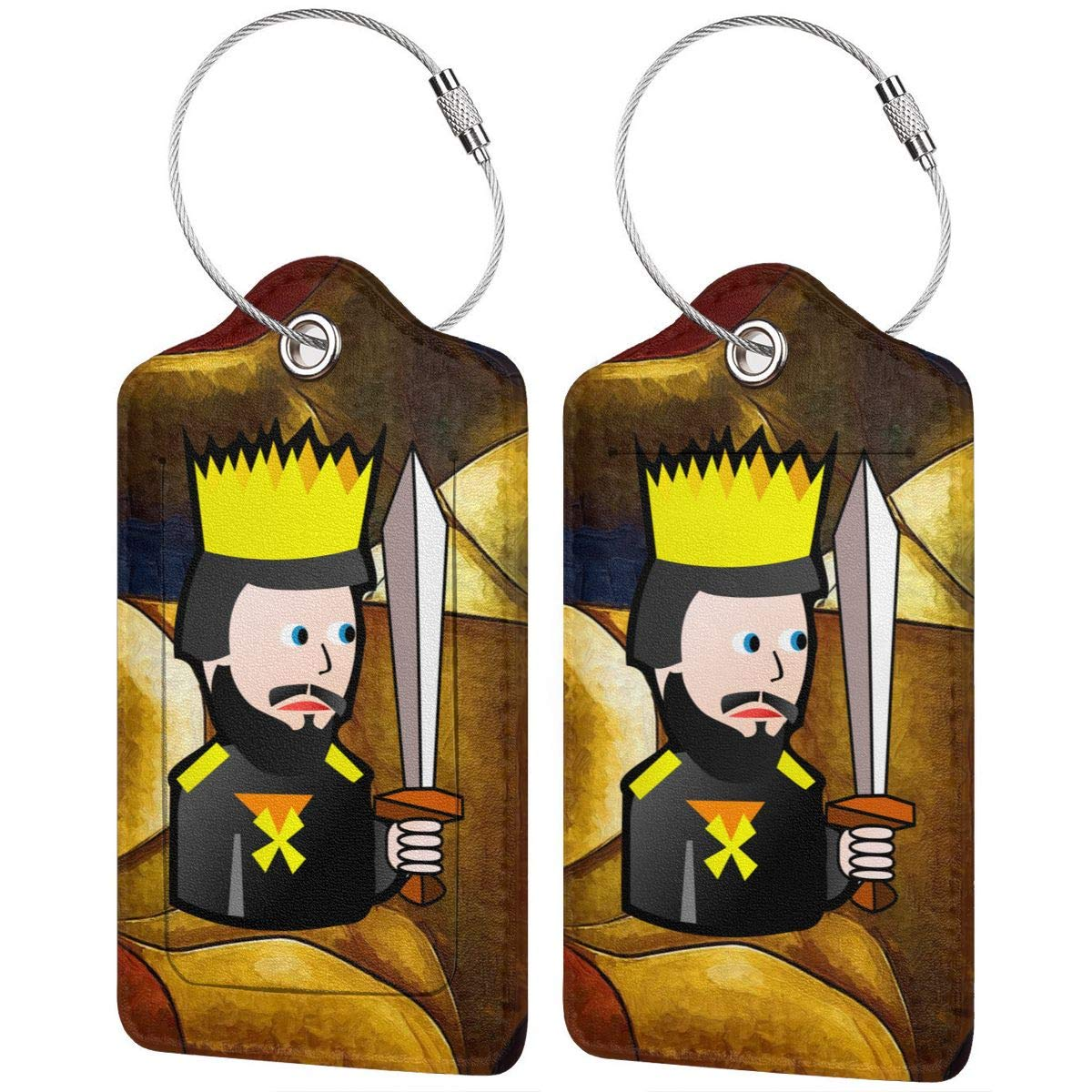King Of Spades Travel Luggage Tags With Full Privacy Cover Leather Case And Stainless Steel Loop