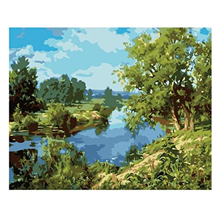 952260617 Amazon.com: Tyjie Riverside Scenery Digital Oil Painting Paint by ...