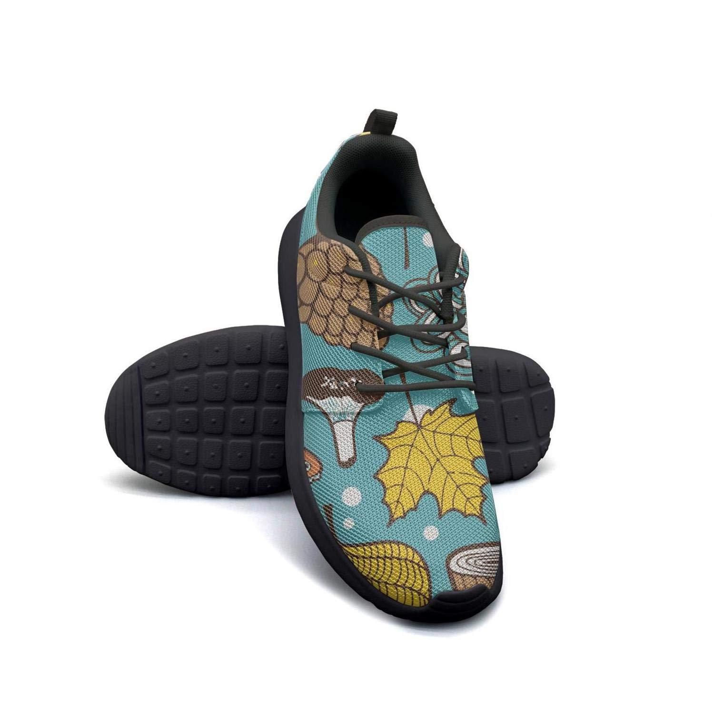 LOKIJM Mushroom Hedgehog Leaves Tennis Shoes for Women Slip Wear-Resistant Girl Running Shoes