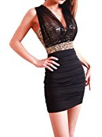 New Sexy Ladies BlacK and gold Sequin Empire Waist See-through Mesh Sleeveless Party Dress