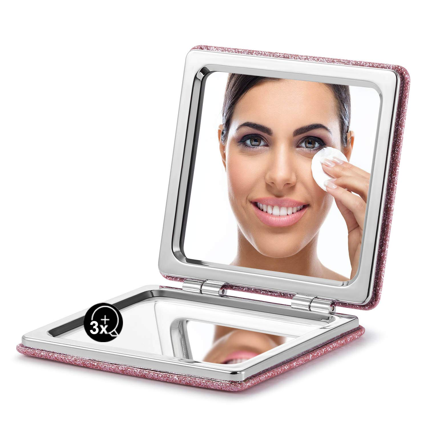 OMIRO Compact Mirror, Glitter PU 1X 3X Magnification, Ultra Portable for Purses Pink
