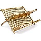 Relaxdays Égouttoir à Vaisselle en bois CROSS H x l x P: 23 x 42 x 36 cm avec 2 Niveaux Pliant en Bambou pour couverts tasses assiettes bols tasses pour la cuisine résistant humidité, nature