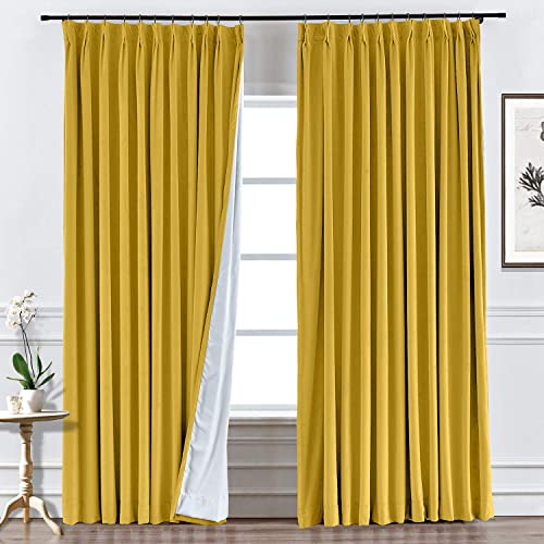 Macochico Bedroom Velvet Drapes Blackout Velvet Textured Curtains Pinch Pleated Blocking Privacy Protect Panels