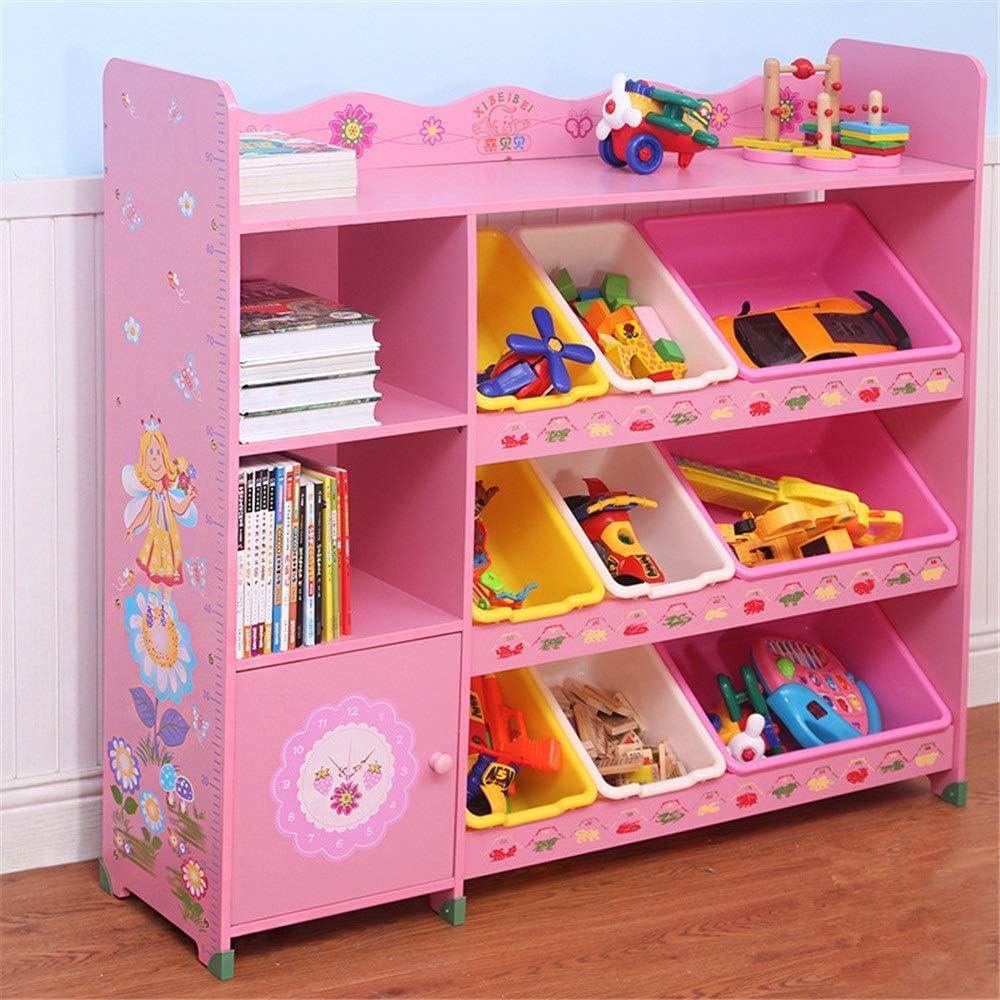 おもちゃ・絵本ラック プラスチック製の箱、収納ボックスの棚引き出し付きの子供用おもちゃ収納オーガナイザー-家庭用収納、ファブリックに最適 おもちゃオーガナイザーボックス (Color : Pink, Size : 3 big 6 small)