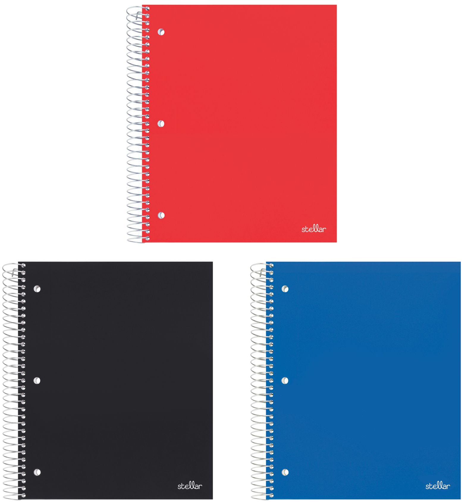 Stellar College Ruled Notebook, 5-Subject, 5 Poly Pocket Dividers, 8.5'' x 11'', 200 Sheets, 3/Pack (Black, Blue, Red)