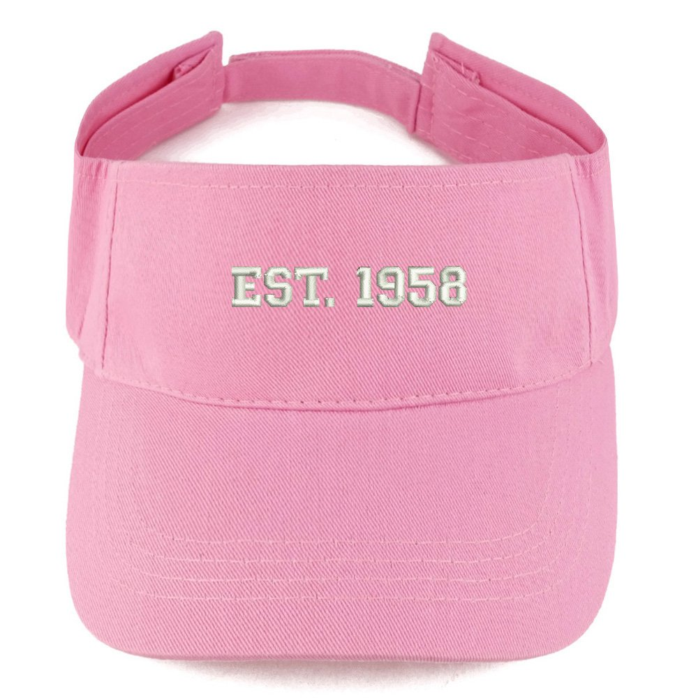 Trendy Apparel Shop EST 1958 Embroidered - 60th Birthday Gift Summer Adjustable Visor - Pink