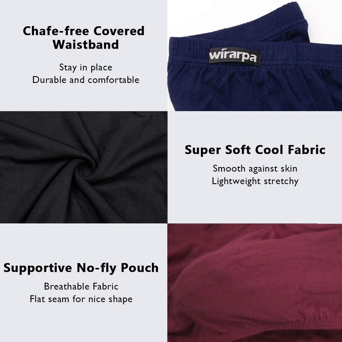 wirarpa Mens Modal Briefs Underwear Soft Microfibre Underpants No Front Silky Touch Slips Covered Waistband Multipack