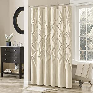Madison Park Laurel Polyester Shower Curtain Color: Ivory, 72x72