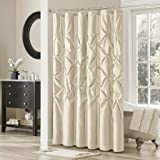 Madison Park Laurel Satin Polyester Shower Curtain, Ivory