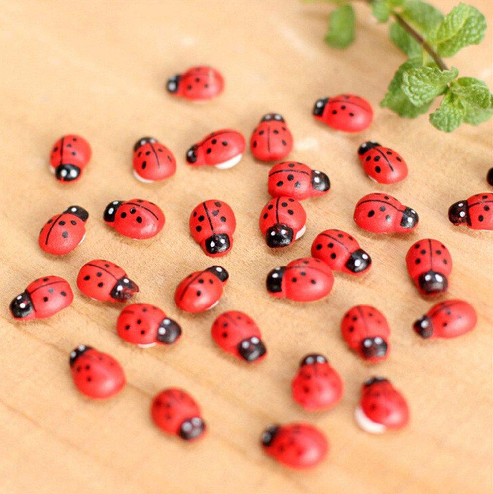 BBtime 10Pcs Miniature Decorations Coccinella Septempunctata Resin Crafts DIY Little Garden Decor 10 pcs Mini Ladybug Beatles Garden Ornaments 100% Brand New and