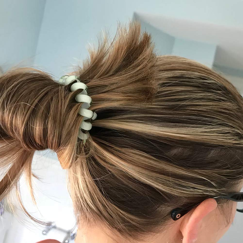 Spiral Hair Ties Phone Cord - Funy Hair New Thick Elastic Blonde Brown Ponytail Holders Mix Color Hair Rings Traceless Suitable for Women Girls, 3 pairs The colors of gifts will be random shipments.
