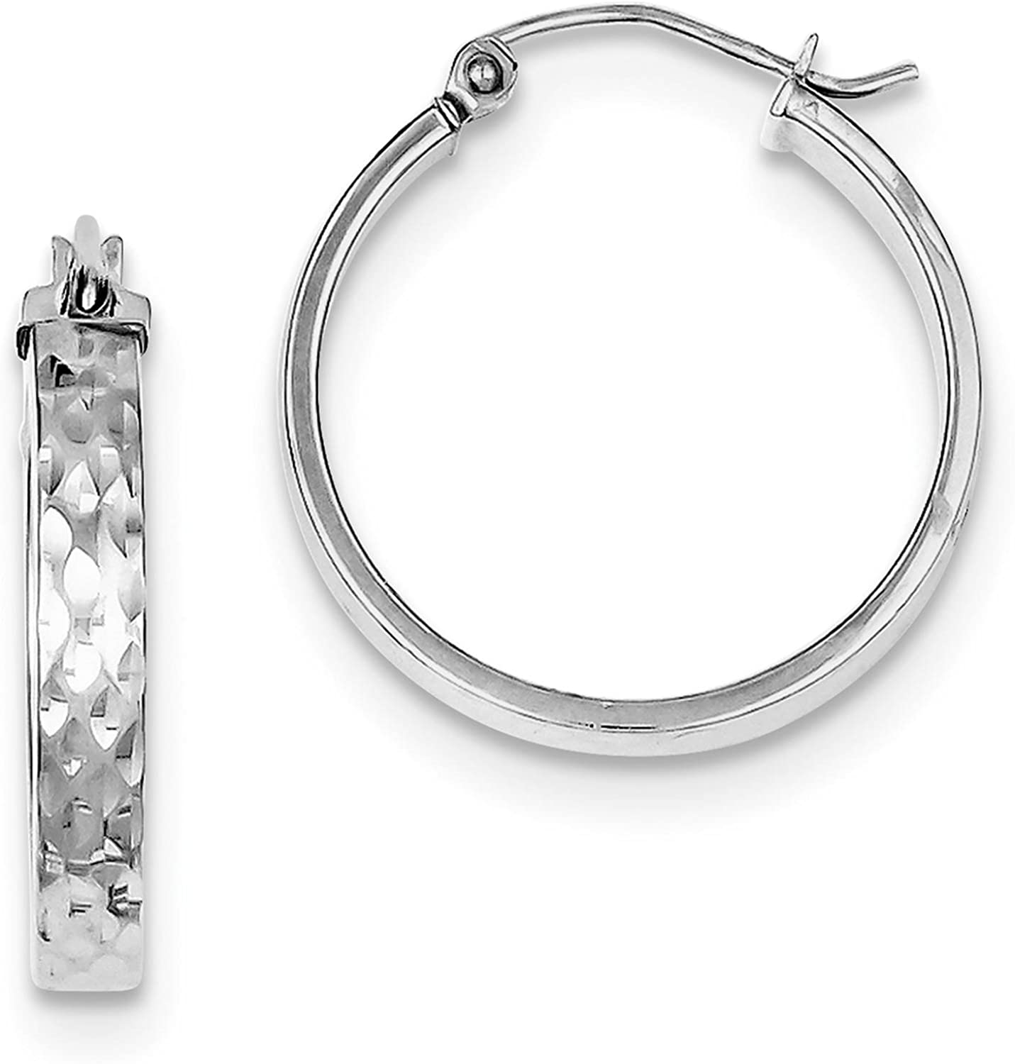 925 Sterling Silver Rhodium-plated Polished /& Diamond-cut Round Hoop Earrings