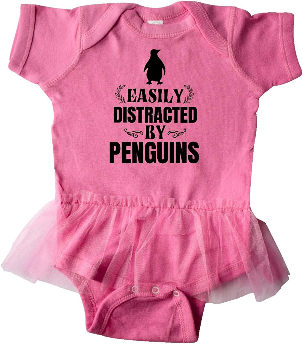 inktastic Easily Distracted by Penguins Infant Tutu Bodysuit