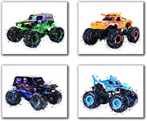 "Monster Truck Theme Art Painting Watercolor Art Print Set of 4 (8""X10"" Canvas Picture) for Children Kids Boy's Kindergarten Room Bedroom Wall Art Decor Poster for Boys Birthday Gift No Frame"