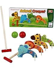Kids Croquet Golf Toy Set Wooden Animal Garden Outdoor Childrens Play Lawn Games