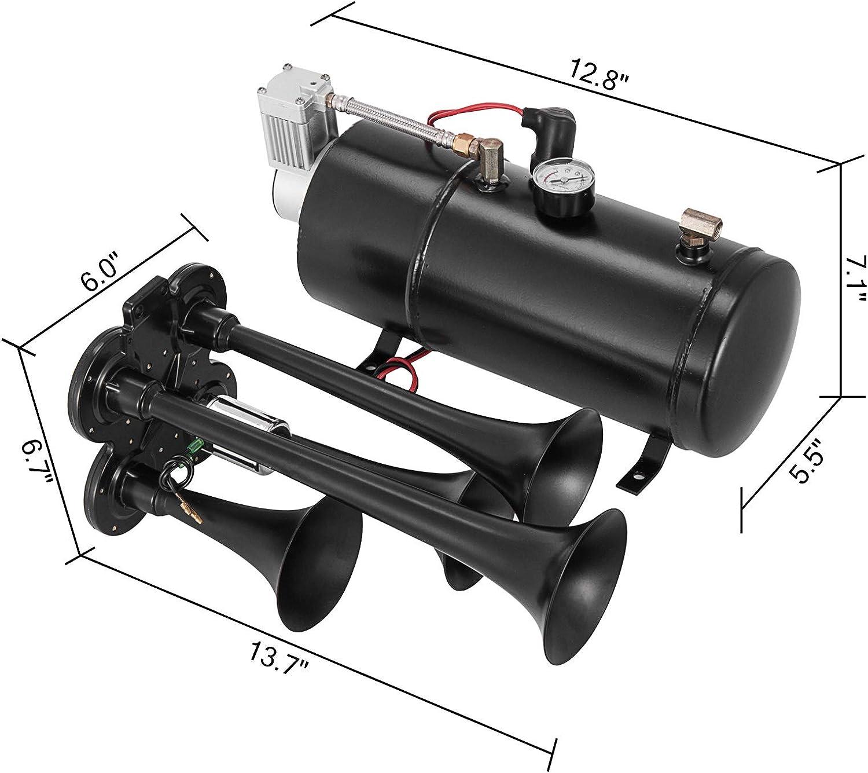 OldFe Lufthorn Chrome Zink Dual Trumpet 12V Air Horn Kit Trompetenzug Air Horn Kit 345x155x165 mm Kompressor mit Zubeh/ör Auto Verwendung