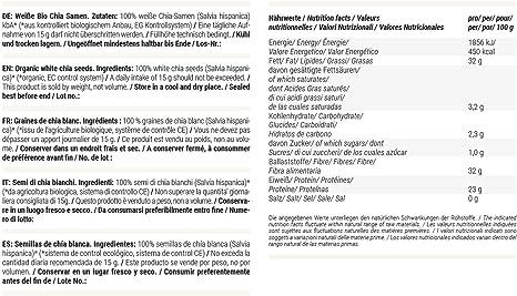 foodspring Semillas de chía blanca de calidad orgánica, 250g, Los ...