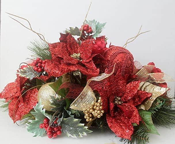 Christmas Tablescape Decor - Handmade Red Christmas Floral Table Arrangement