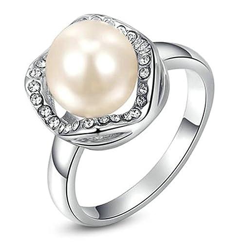Bishilin Joyería Anillos para Mujeres de Chapado en Oro Perla Zirconia Blanca Anillos de Boda Plata