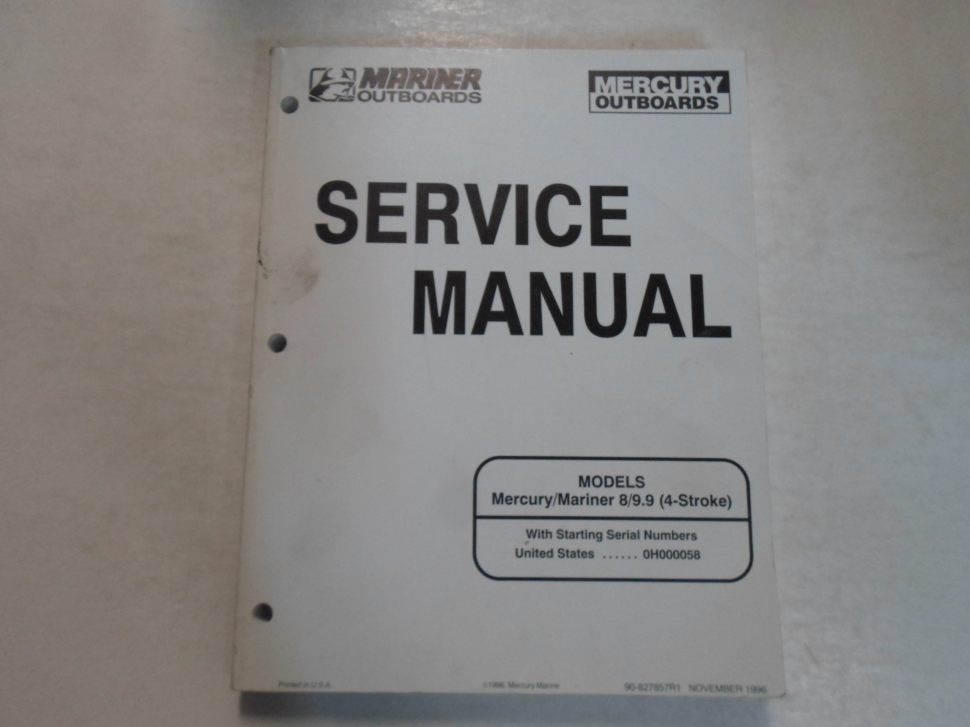1996 Mercury Mariner Outboards 8/9.9 4 Stroke Service Repair Shop Manual  STAINED: Brunswick: Amazon.com: Books