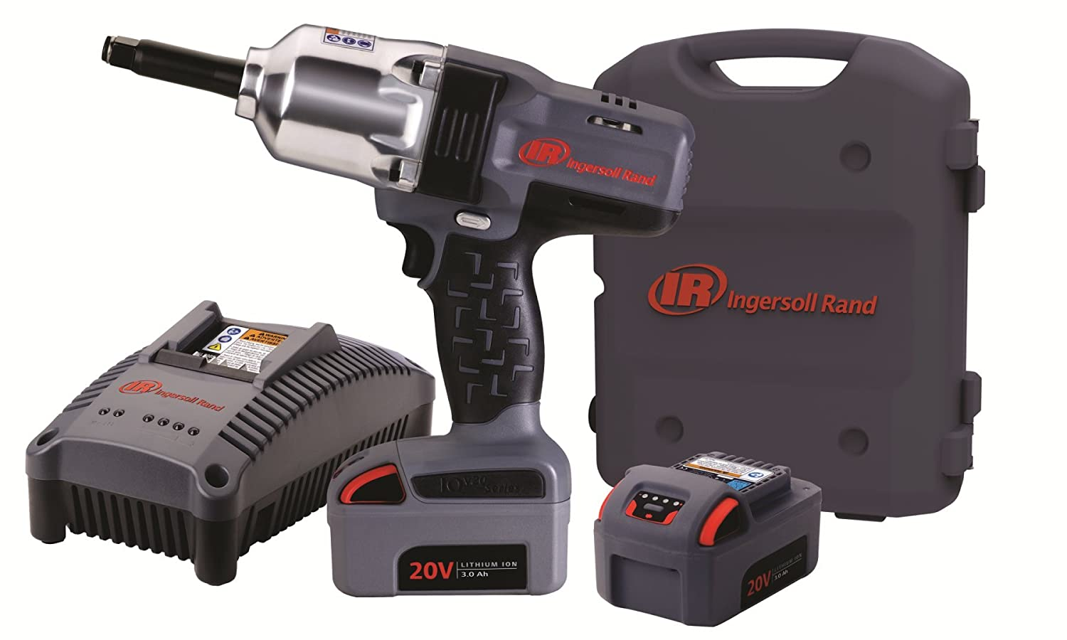 Ingersoll Rand W7250-K2 1 2-Inch High-Torque 2-Inch Extended Anvil Impactool Kit with Charger, Li-ion Batteries and Case