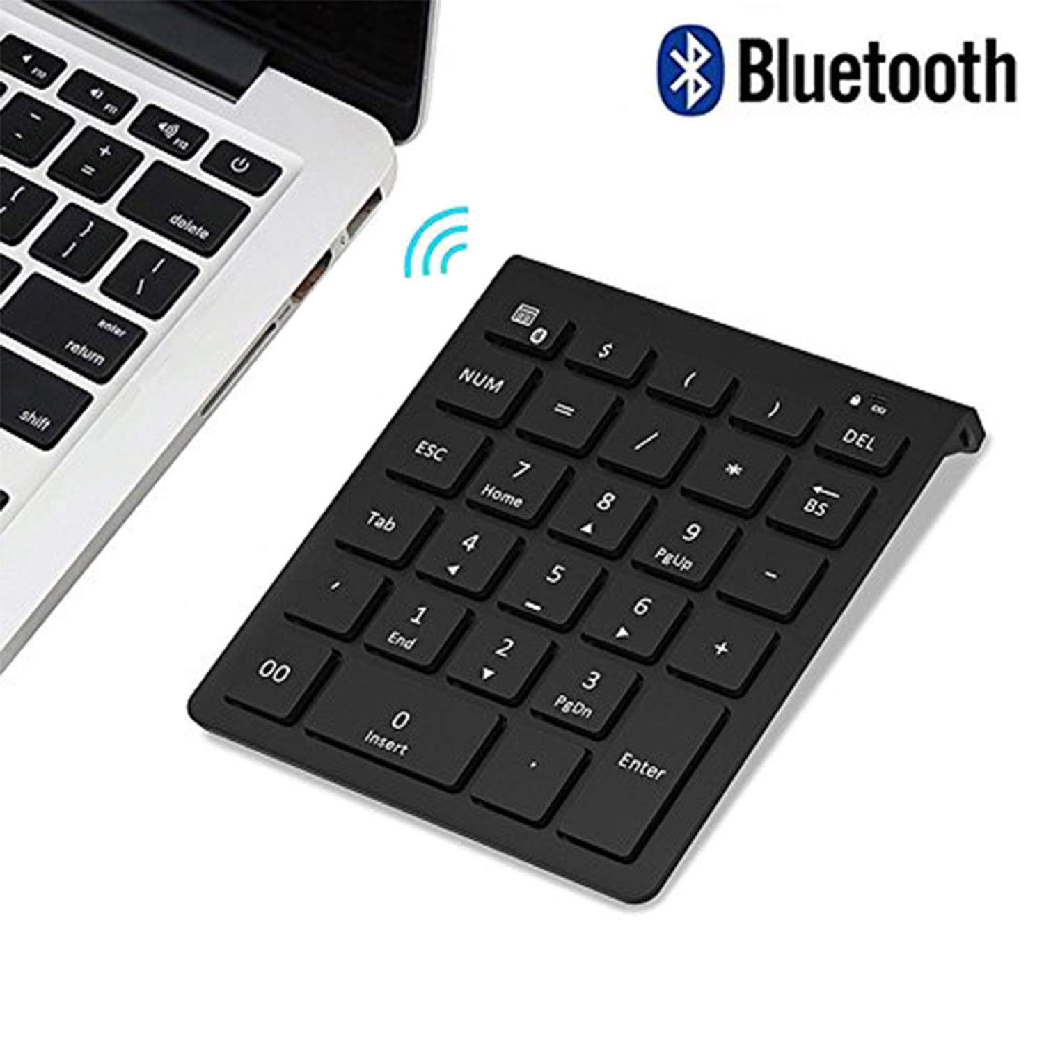 Bluetooth Number Pad, Lekvey Portable Wireless Bluetooth 28-Key Numeric Keypad Keyboard Extensions for Financial Accounting Data Entry for Smartphones, Tablets, Surface Pro, Windows, Laptop and More by LEKVEY
