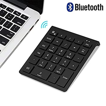 Bluetooth Number Pad, Lekvey Portable Wireless Bluetooth 28-Key Numeric  Keypad Keyboard Extensions for Financial Accounting Data Entry for