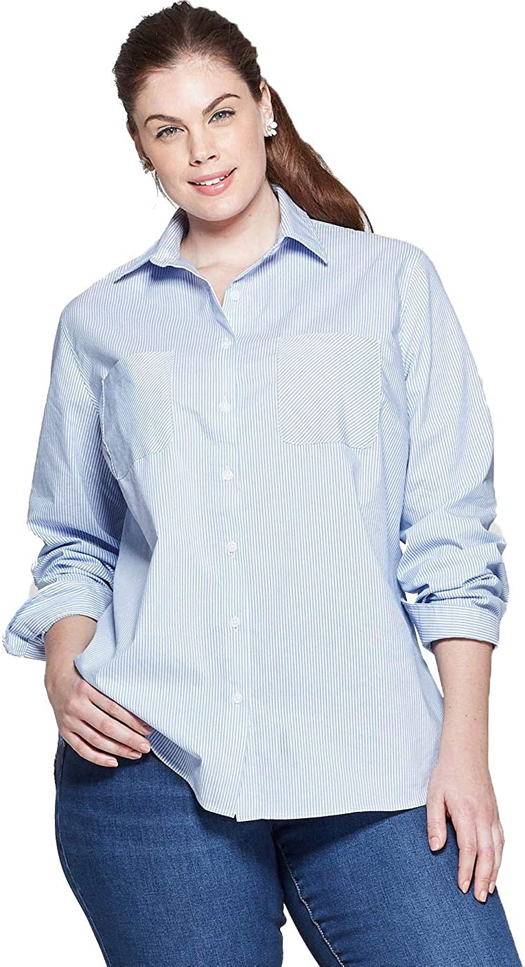 Ava /& Viv Women/'s Plus Size Embroidered Button Down Striped Shirt