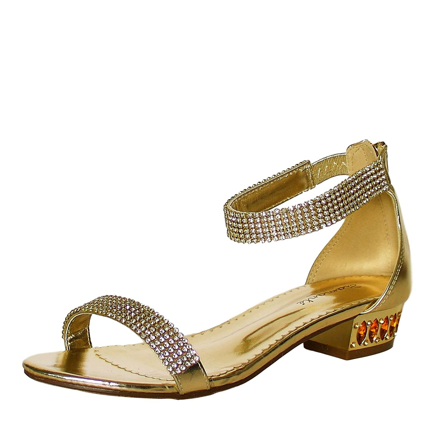 afc5325912c0 Rock on Styles Womens Party Sparkly Gold Diamante Ankle Straps Low Block Flat  Heel Shoes Sandal Size-1019  Amazon.co.uk  Shoes   Bags
