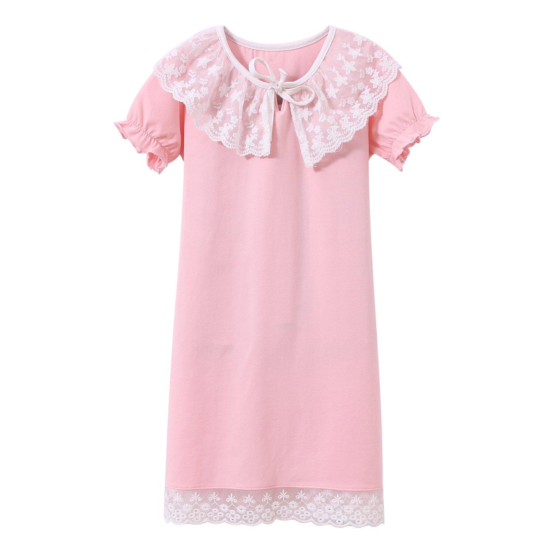 BOOPH Girls Princess Nightgown, Cotton Toddler Sleepwear Short Sleeve Lace Nightwear Dress 3-10 Year