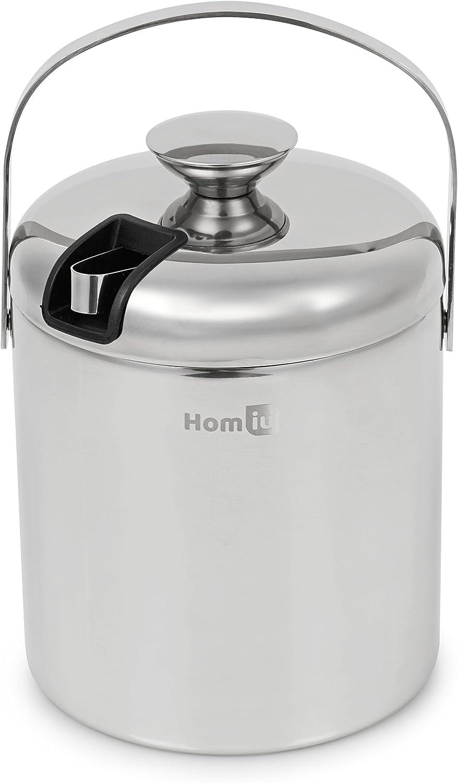 Cubo de hielo Homiu con tapa y pinzas de acero inoxidable de doble pared, cubo de contenedor de 1,5 o 2 litros cubo grueso con pinzas (1,5 l)