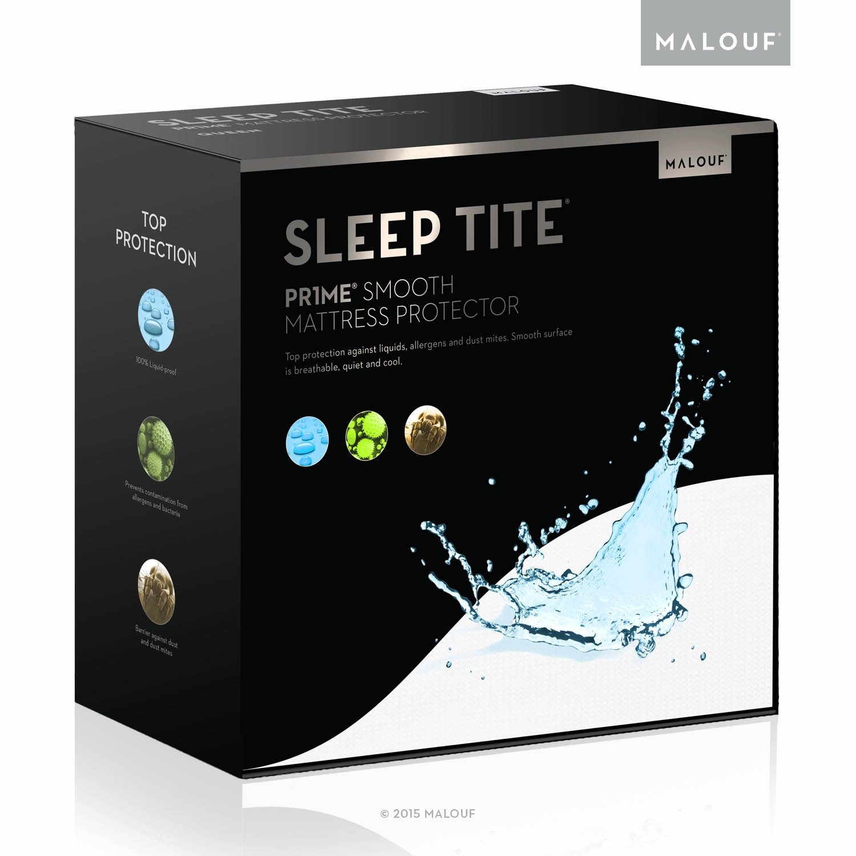 MALOUF Sleep TITE PR1ME Smooth 100% Waterproof Hypoallergenic Mattress Protector, Split Head Queen, White