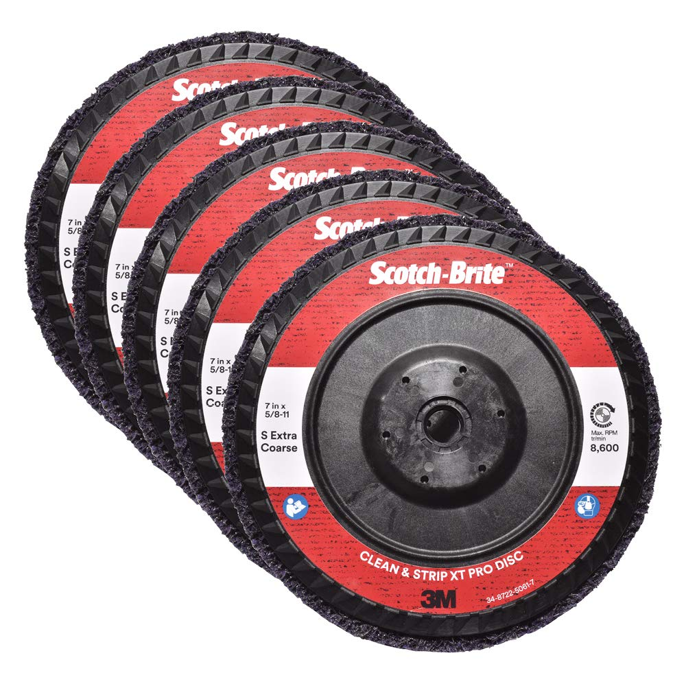 Scotch-Brite Clean and Strip XT Pro Disc – Rust and Paint Stripping Disc – 7 diam. x 5/8-11 Quick Change Thread – Extra Coarse Silicon Carbide – Pack of 5 711u1Qo15LL