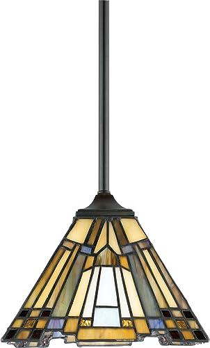 Quoizel TFIK1508VA Inglenook Tiffany Mini Pendant Lighting, 1-Light, 100 Watts, Valiant Bronze 7 H x 8 W