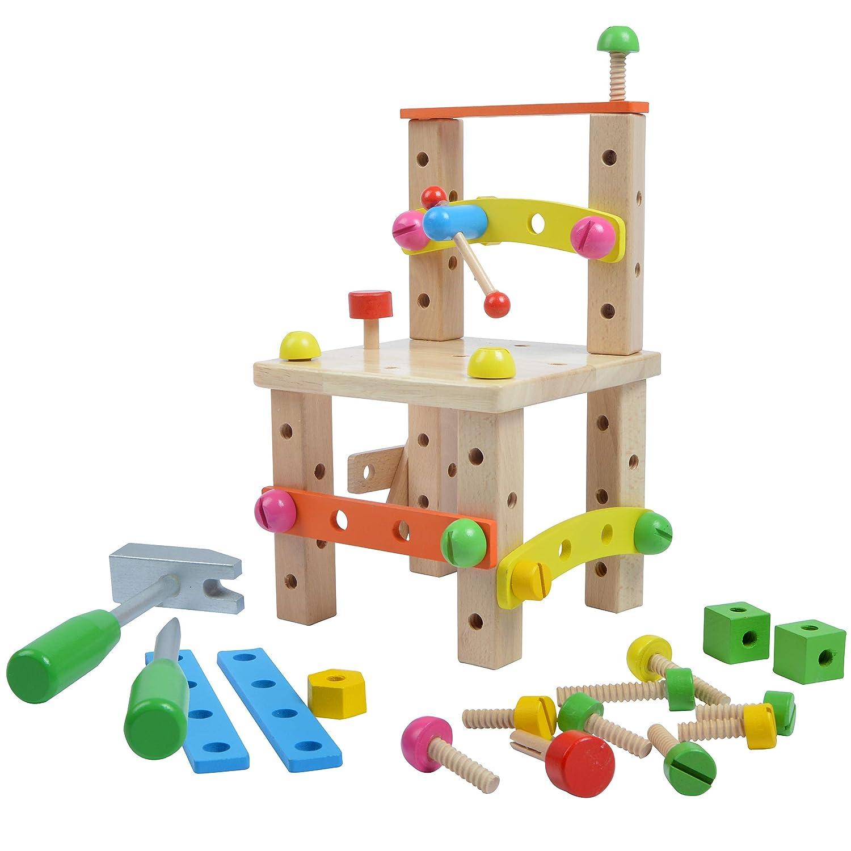 Pink Papaya Werkbank Stuhl mit Werkzeug und Zubehör, pädagogisches Motorik-Spielzeug aus Holz für Jungen und Mädchen ab 3 Jahren 3S GmbH & Co KG.