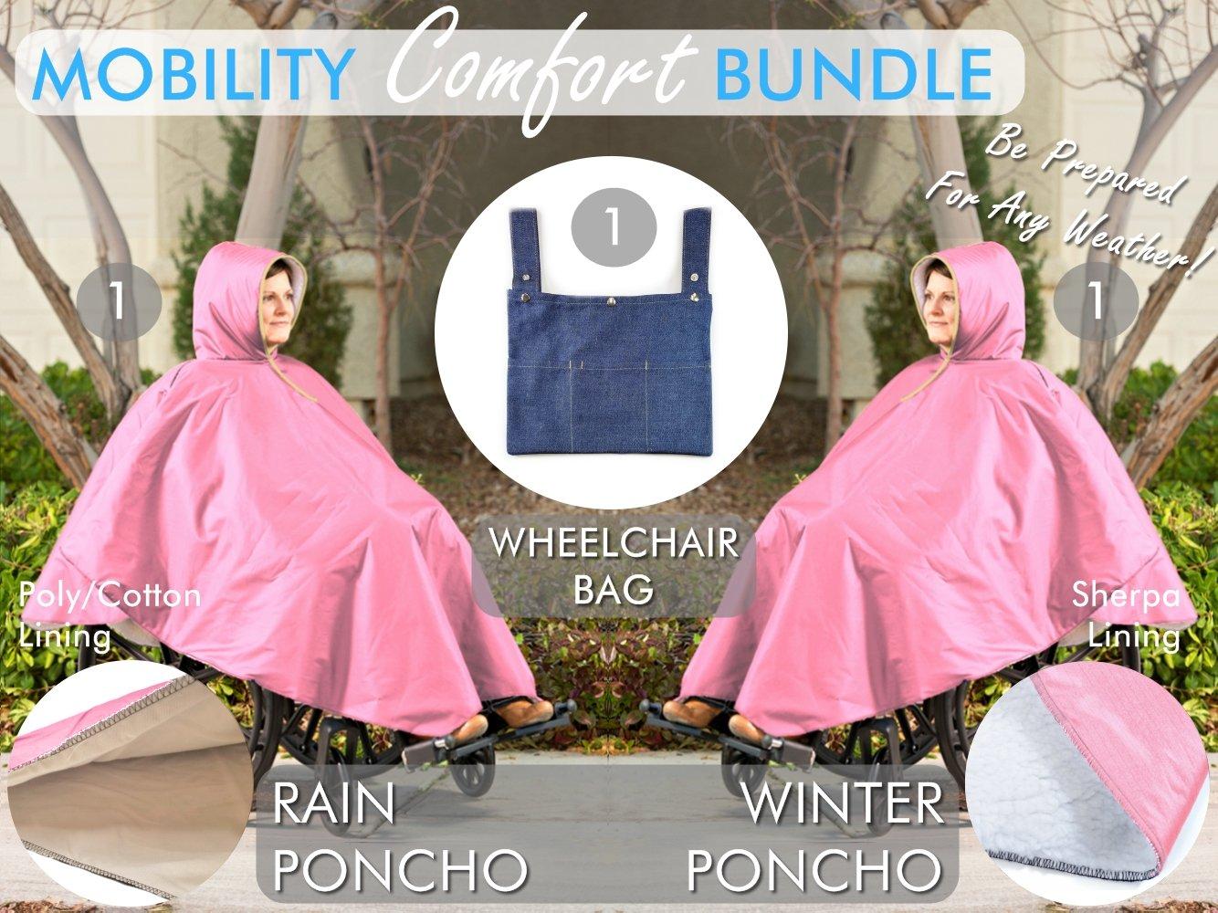 Wheelchair Poncho Comfort Bundle – Summer & Winter Poncho – Mobility Wheelchair Walker Bag – Adult Elderly Seniors Wheelchair Poncho & Bag (Pink)