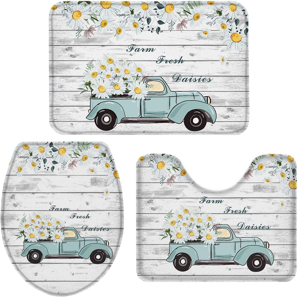 OneHoney 3-Piece Bath Rug and Mat Sets, Fram Fresh Daisy and Vintage Truck Non-Slip Bathroom Decor Doormat Runner Rugs, U-Shaped Toilet Floor Mats, Toilet Seat Cover Wood Texture