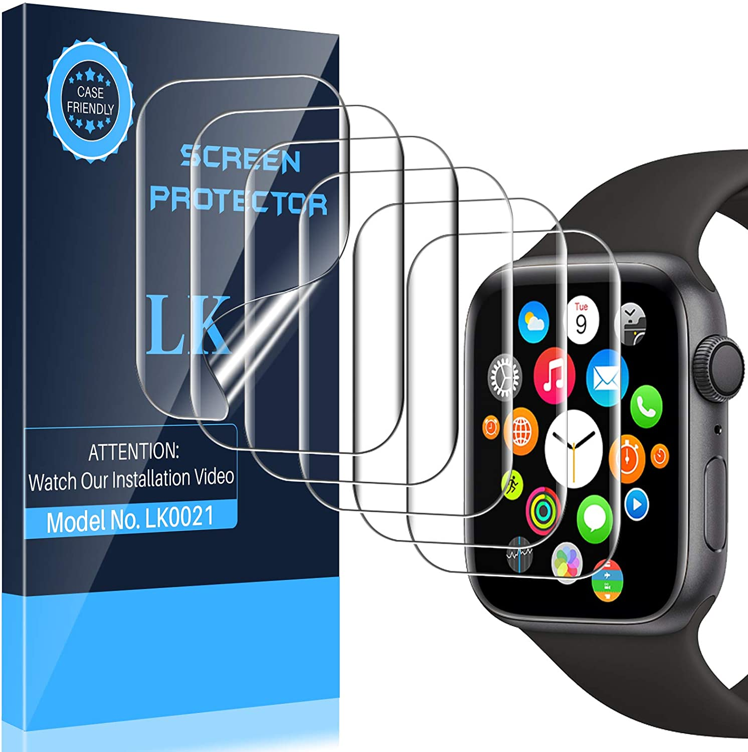 LK 6 Pack Screen Protector Compatible with Apple Watch 40mm Series 6 SE Series 5 Series 4 and Apple Watch 38mm Series 3, Model No. LK0021, Bubble-Free, Flexible TPU Film