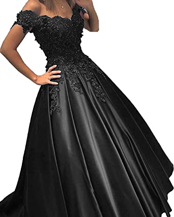 Angela Off Shoulder Lace Prom Dresses Tulle Long Puffy Quinceanera Dresses Ball Gown AN035
