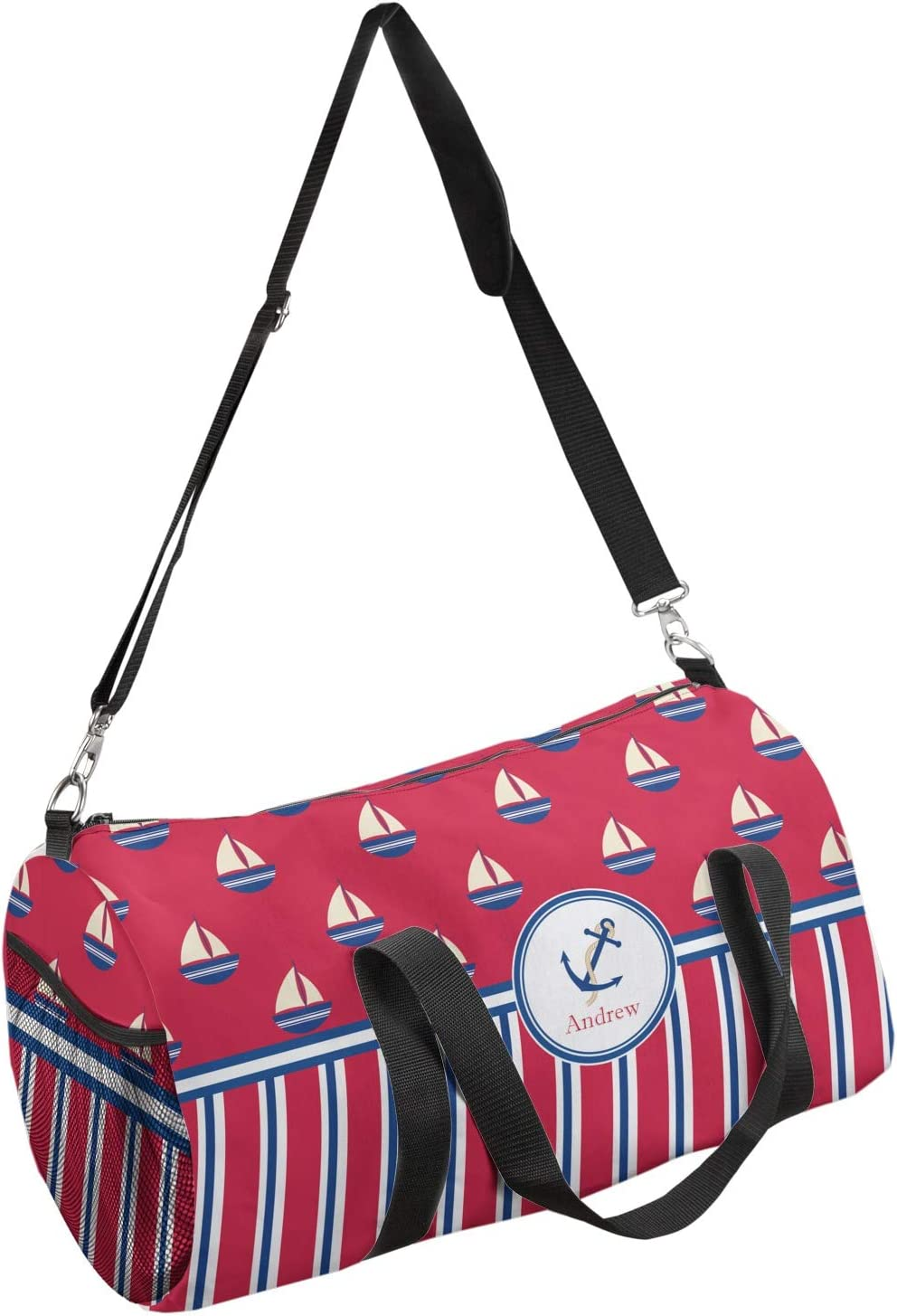 YouCustomizeIt Sail Boats /& Stripes Duffel Bag Personalized