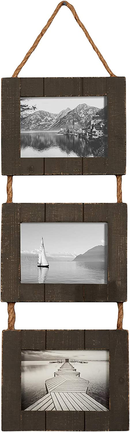 """Barnyard Designs Rustic Farmhouse Distressed Picture Frames, Vertical Black Wood Photo Frame Display, Set of 3-5"""" x 7"""" Frames on Hanging Rope, 27"""" x 9.5"""""""