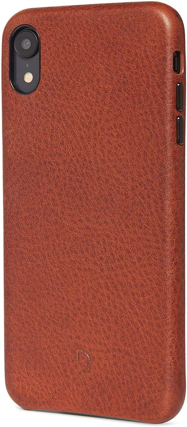 DECODED Back Cover Phone Case iPhone XR, Premium Full-Grain Leather with Metal Buttons + Minimal Design, Snap On for iPhone XR - Brown
