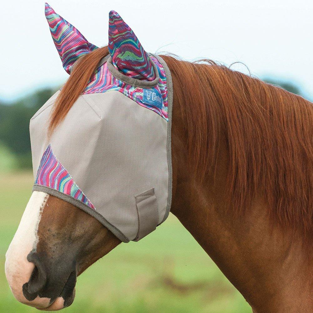 Cashel Patterned Crusader Fly Mask Standard with Ears (Horse, Grey Henna)