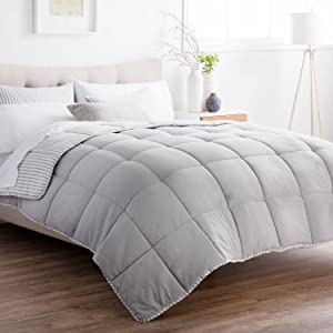 Brookside Striped Chambray Comforter Set - Includes 2 Pillow Shams - Reversible - Down Alternative - Hypoallergenic - All Season - Box Stitched Design - Oversized King - Coastal Gray