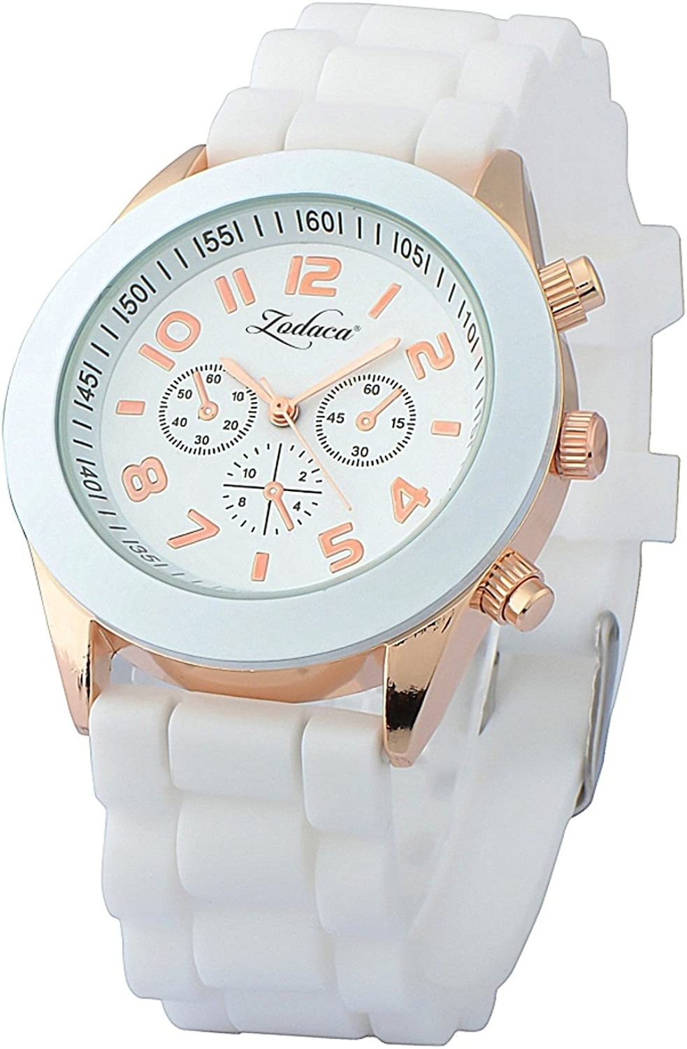 INSTEN Unisex Fashion Analog Quartz Silicone Jelly Sports Wrist Watch, White