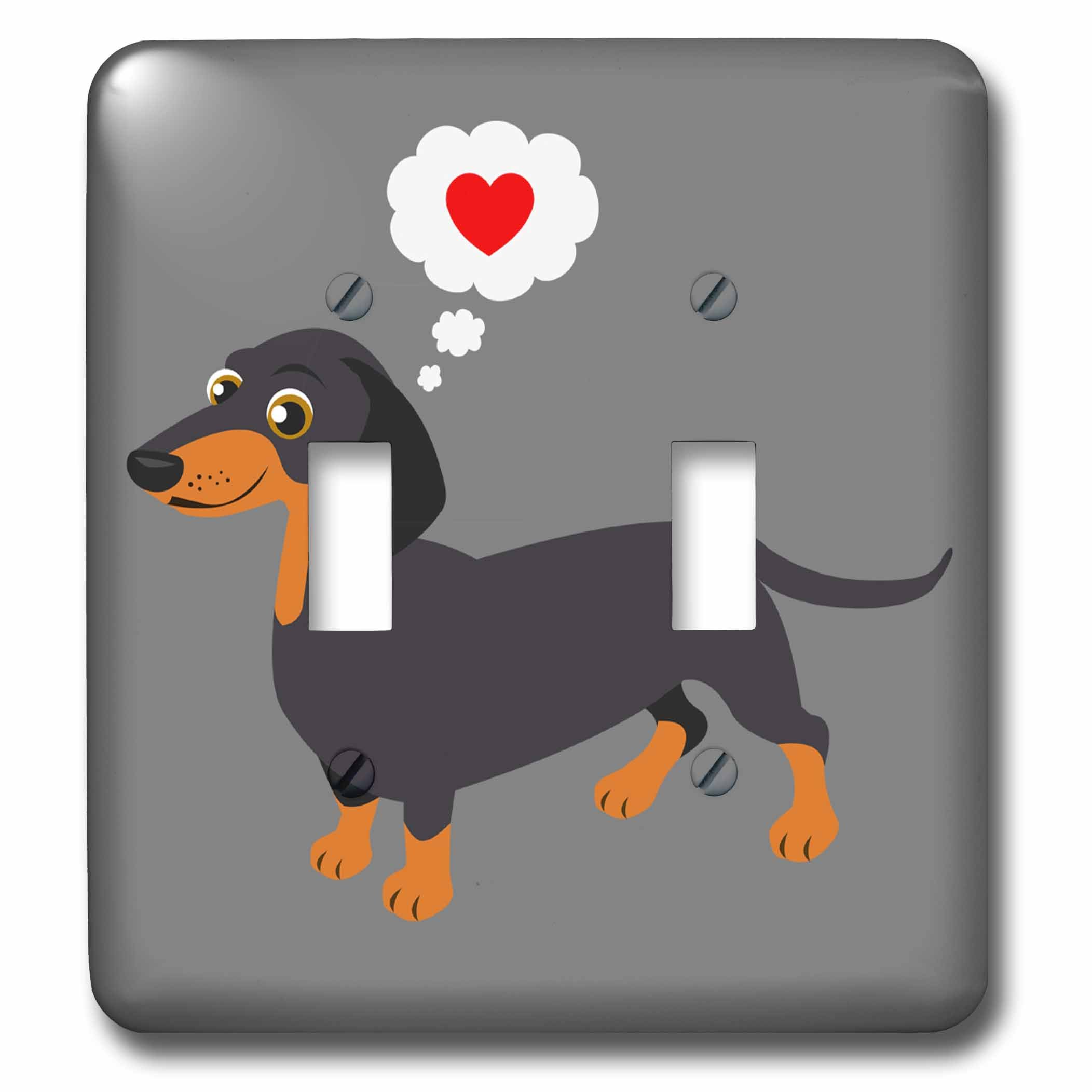 3dRose Janna Salak Designs Dogs - Dachshund Loves You Black and Tan Doxie - Light Switch Covers - double toggle switch (lsp_283623_2)