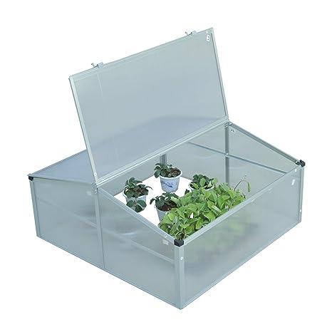 Outsunny Invernadero de Jardín Aluminio Policarbonato Transparente Vivero Casero para Plantas Cultivos Protección UV y Resistente