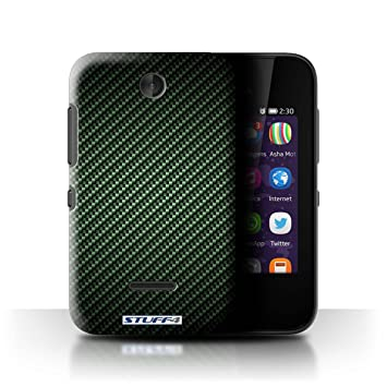 buy online c8db9 b2d8f STUFF4 Phone Case / Cover for Nokia Asha 230 / Green Design / Carbon Fibre  Effect/Pattern Collection