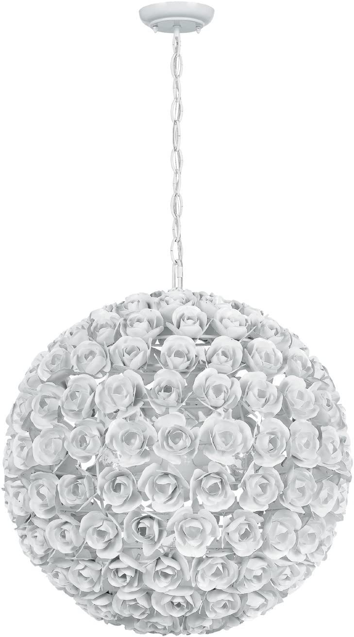 Crystorama 539-WW Leaf, Flower, Fruit Five Light Chandelier from Cypress collection in Whitefinish, 20.00 inches